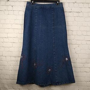 Christopher & Banks Long Denim Skirt 6 embellished